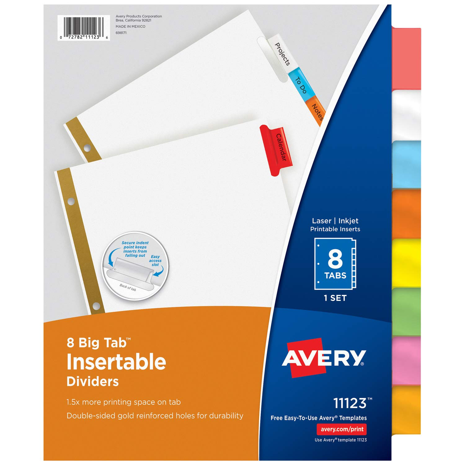 amazoncom avery big tab insertable dividers 8 multicolor tabs 1 set 11123 binder index dividers office products