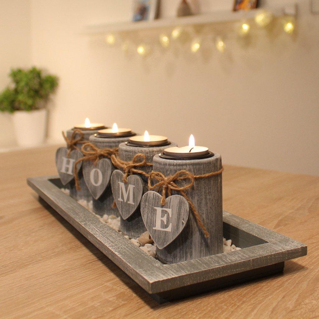 Set di portacandele con vassoio in legno, decorazione da tavolo, salotto Dszapaci®