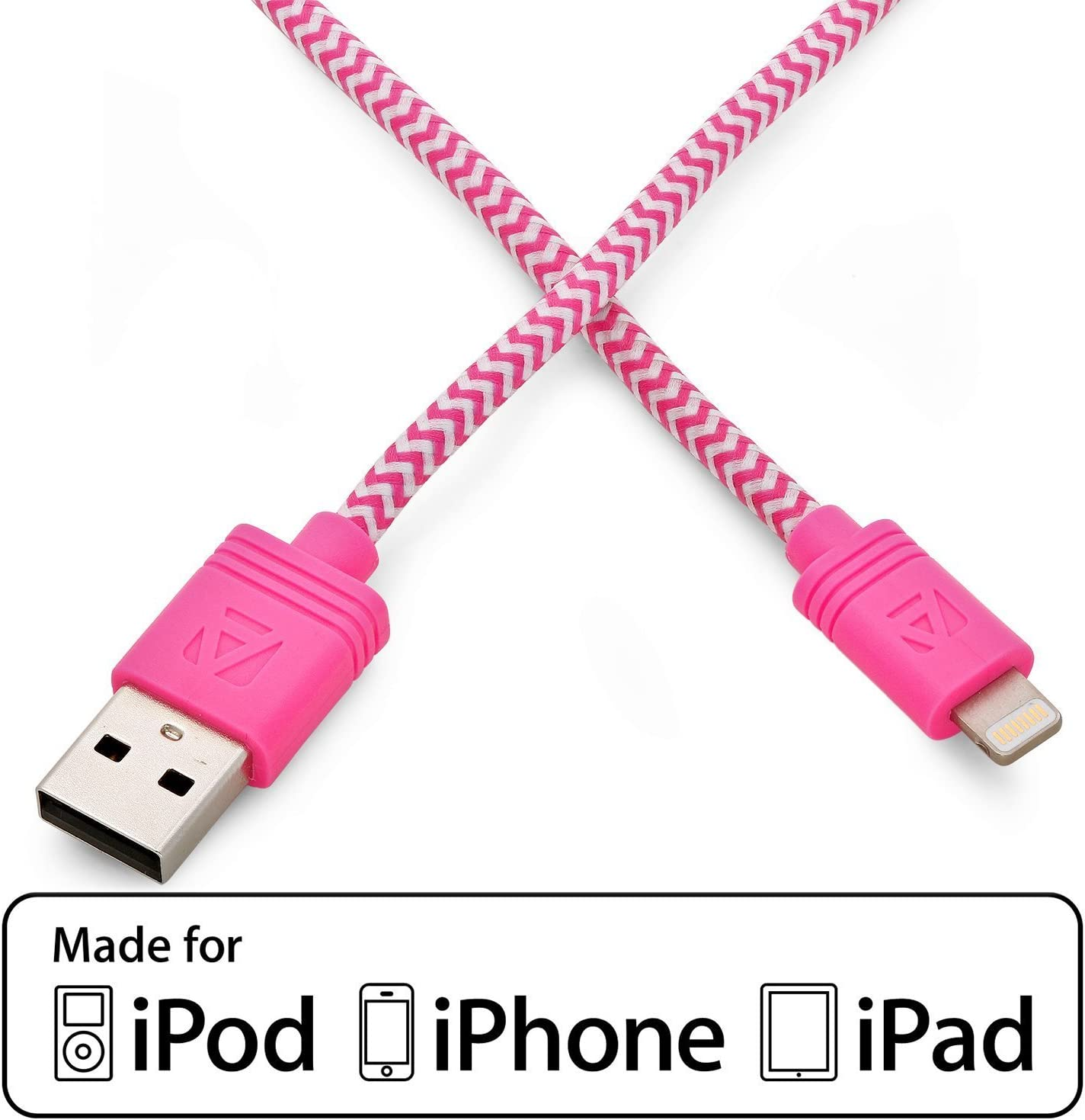 Aduro iPhone iPad Charging Cable, 10FT (3M) Apple-Certified (MFI) Lightning to USB Fiber Cloth Charge & Sync Cable (Pink)