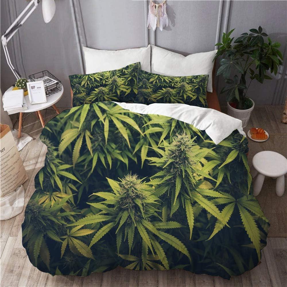 Lieteuy Juego de Ropa de Cama 3 Piezas Microfibra,Hierba Verde Cannabis Bud Marihuana Plantas Marihuana Sativa Cáñamo Indica Cultivo Granja,1 Funda Nórdica y 2 Funda de Almohada (Cama 220x240)