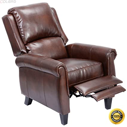 Great COLIBROX  Leather Recliner Accent Chair Push Back Living Room Home  Furniture W/ Leg
