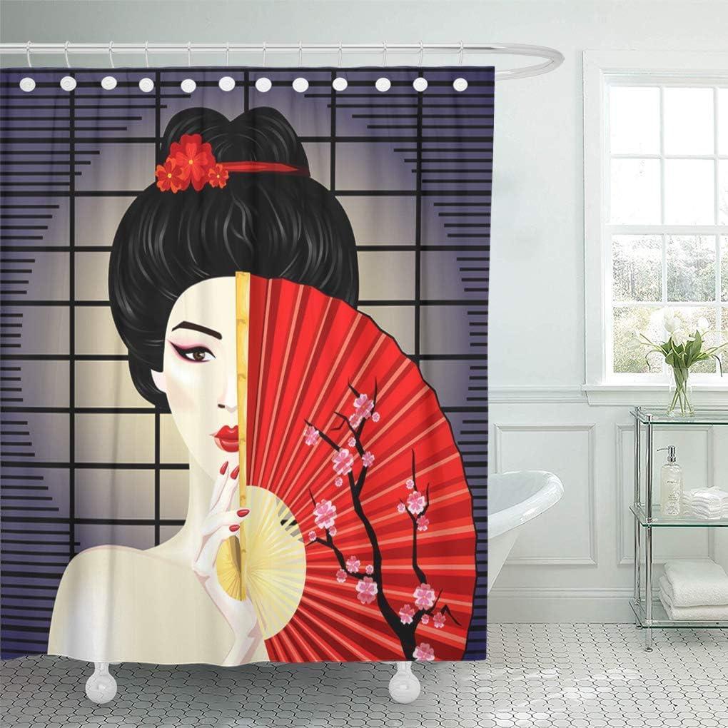 QYGA-3BU Cortina de ba/ño Mujer Negro Jap/ón Geisha Ventilador Rojo Manicura Japonesa Cortinas de ba/ño asi/áticas Conjuntos con 12 Ganchos 60 x 72 Pulgadas