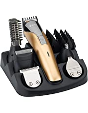FARI All In One Multifunctional Rechargeable Electric Hair Trimmer Grooming Kit Nose Ear Beard Clipper and Mustache Trimmers Shaver Suit Hair Cutter for Barbers Salon with Fast Charge Champagne Color (Gold)
