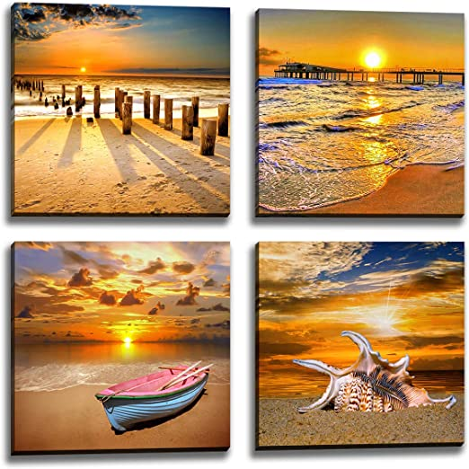 SUNSET BEACH STARFISH FRAMED CANVAS PRINTS WALL ART PICTURES FRAMED POSTER IMAGE