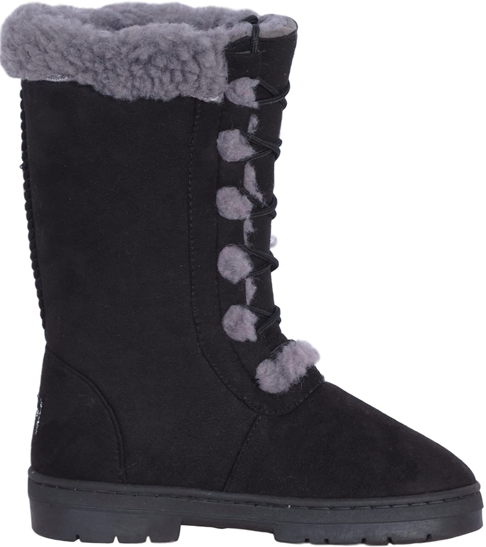 bebe Girls Faux Fur Lace Up Winter Boots Little Kid//Big Kid Black Size 12/'