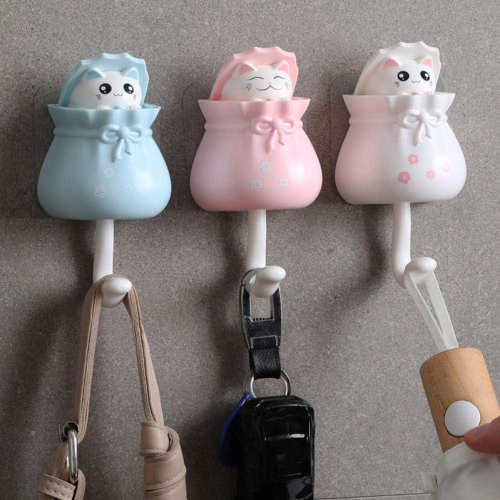 2pcs cat wall hooks self-adhesive hanger key holder adhesive hooks door hangerB1