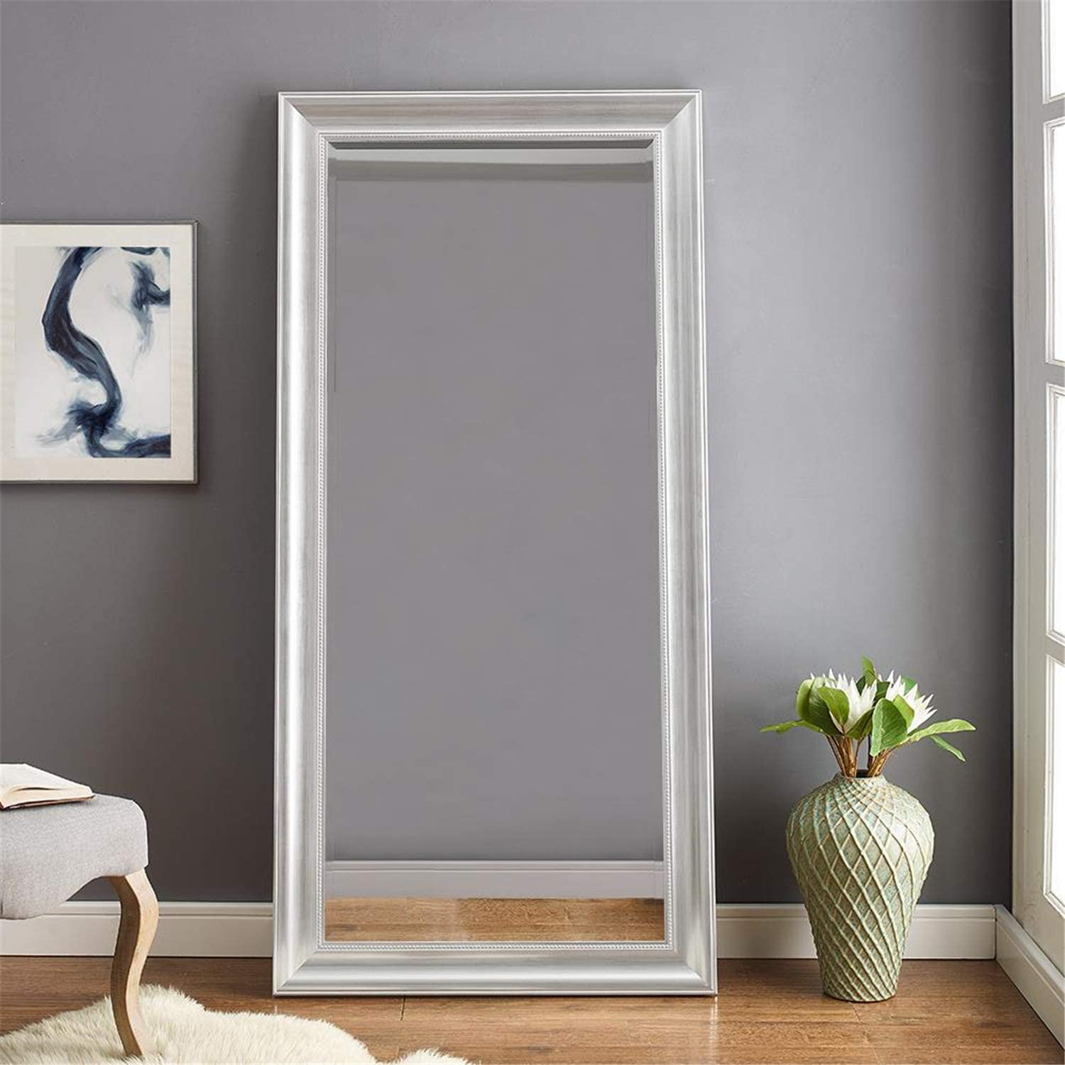 Naomi Home Beaded Framed Leaner Mirror Silver 66 X 32 Furniture Decor
