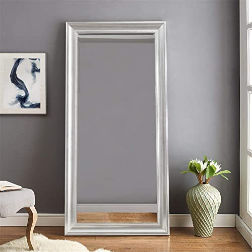 Naomi Home Beaded Framed Leaner Mirror Silver/66″ x 32″