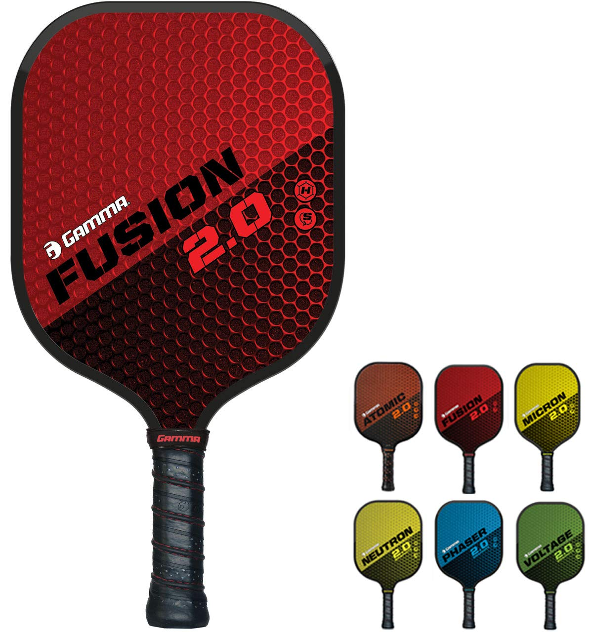 GAMMA Sports 2.0 Pickleball Paddles: Fusion 2.0 Pickleball Rackets - Textured Fiberglass Face - Mens and Womens Pickle Ball Racquet - Indoor and Outdoor Racket - Red Pickle-Ball Paddle - 8 oz by Gamma