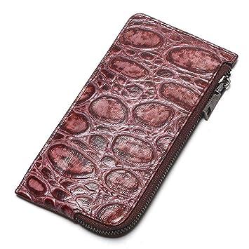 JCH-lug Wallet Cocodrilo Grano Diseño Embrague 100% Cuero Genuino Mujeres Teléfono Carteras Cremallera Billetera Damas Monedero con Cinturón Rojo: ...