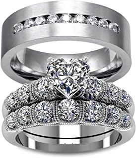 LOVERSRING Couple Ring Bridal Sets His Hers Women White Gold Plated CZ Men Stainless Steel Wedding Ring Band Set