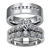 LOVERSRING Couple Ring Bridal Set His Hers White