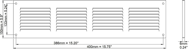 /Metal Marr/ón mr4015b /Rejilla de protecci/ón contra la intemperie/ Haco/ /Con Protecci/ón Contra Insectos/ /400/x 150/mm/ /Rejilla rejilla/
