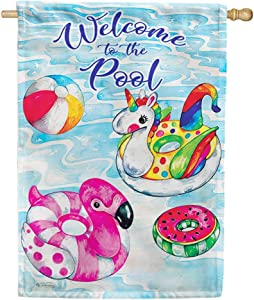Custom Decor Pool Floaties Welcome to The Pool - Standard Size, 28 x 40 Inch, Decorative Double Sided, Licensed and Copyrighted Flag, Printed in The USA