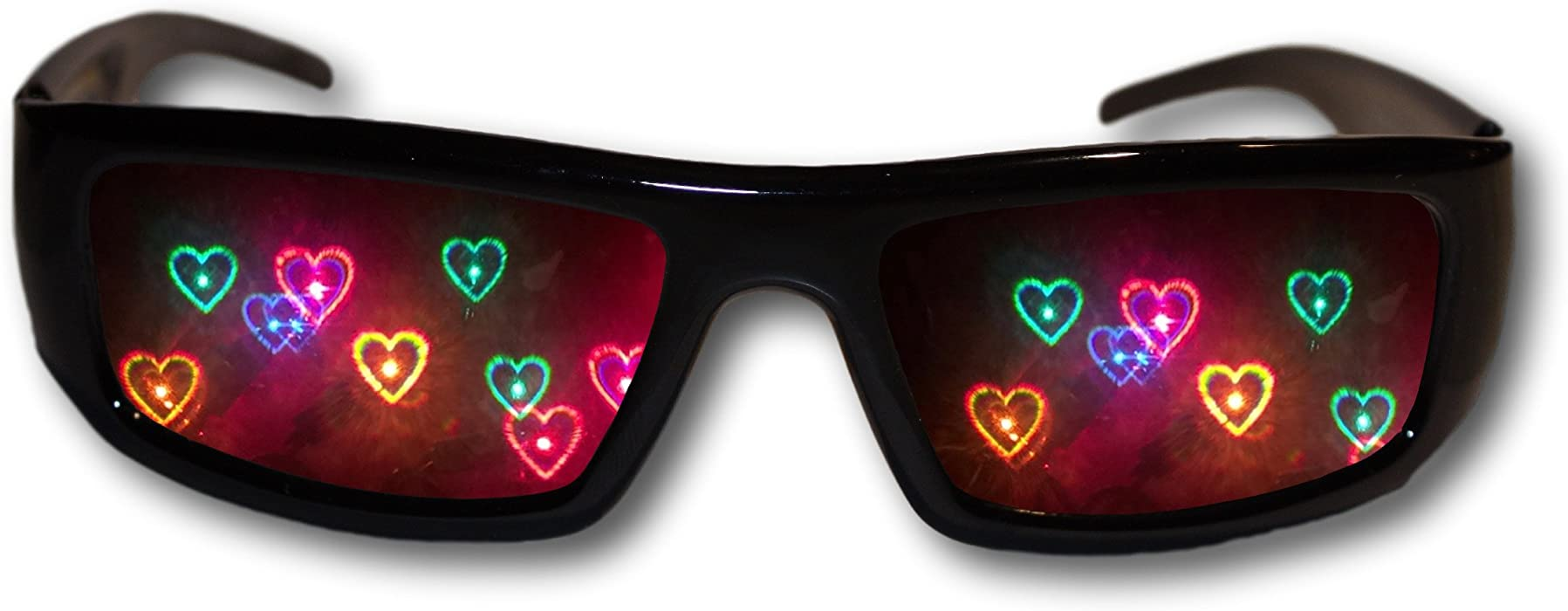 2bc95561046 Heart Diffraction Glasses - See Hearts! Rave Glasses  Amazon.co.uk ...