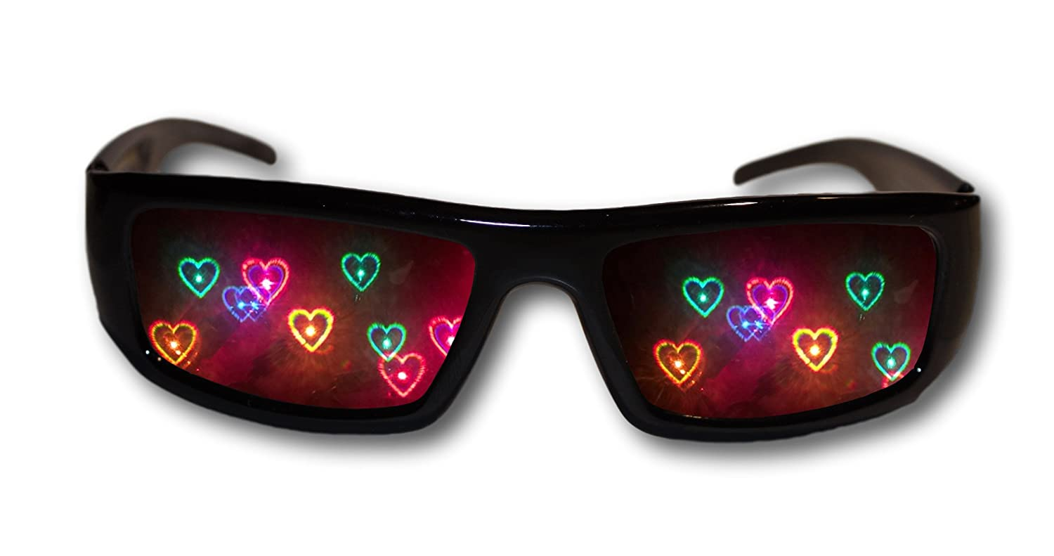 2f1fd5e8b97d5 Amazon.com  Heart Diffraction Glasses - See Hearts! Rave Glasses  Clothing