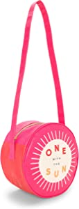 """ban.do Super Chill Mini Circle Cooler Bag with 44"""" Shoulder Strap and Water Resistant Leatherette, One with The Sun"""