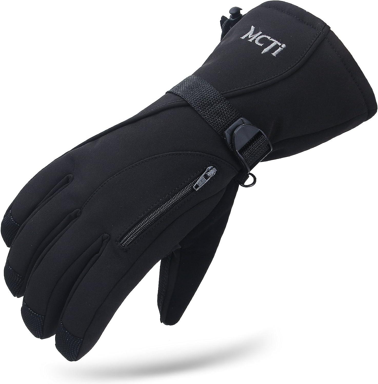 MCTi防水メンズスキーグローブ冬暖かい3メートルシンスレートスノーボードスノーモービル寒い天候の手袋黒X大