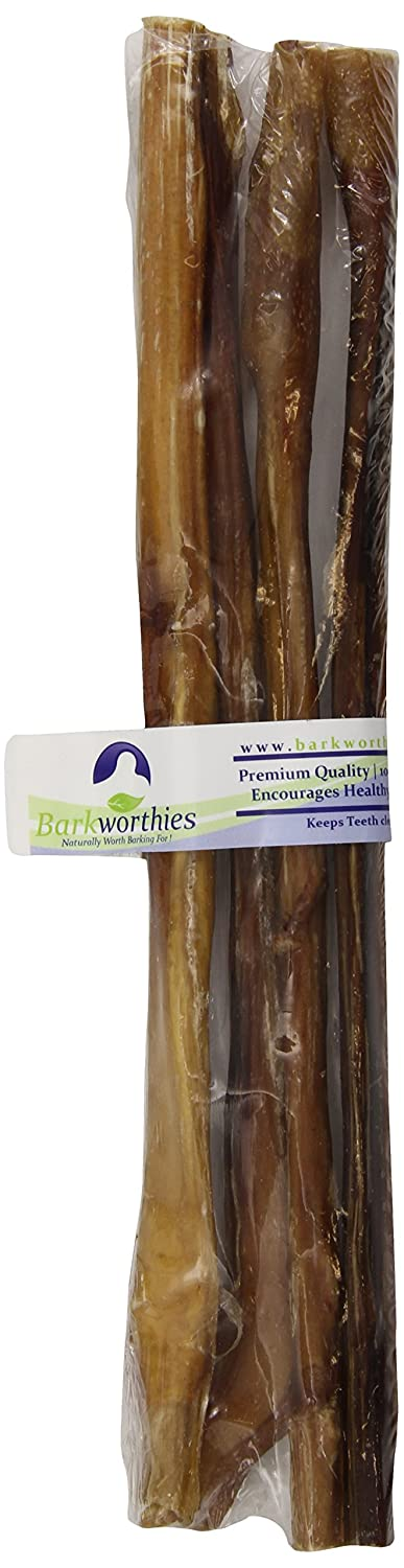 Barkworthies 4-Pack Standard Bully Stick for Pets, 12-Inch