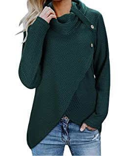 80835f256 Inorin Womens Wrap Waffle Shirts Turtleneck Loose Button Lightweight  Pullover Tops