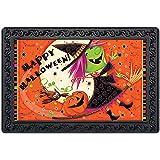 POLERO Colorful Doormat Big Moon and Funny Owl Pumpkin Witch Flying on Broom Door Pad Black Happy Halloween Lettering Floor M