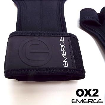 Emerge Pull up Grips Crossfit - Protectores Mano Forte con Wrist Brace - Asas absorbentes de Gimnasia y de WOD Cross Training - Better Than Peso Guantes de ...