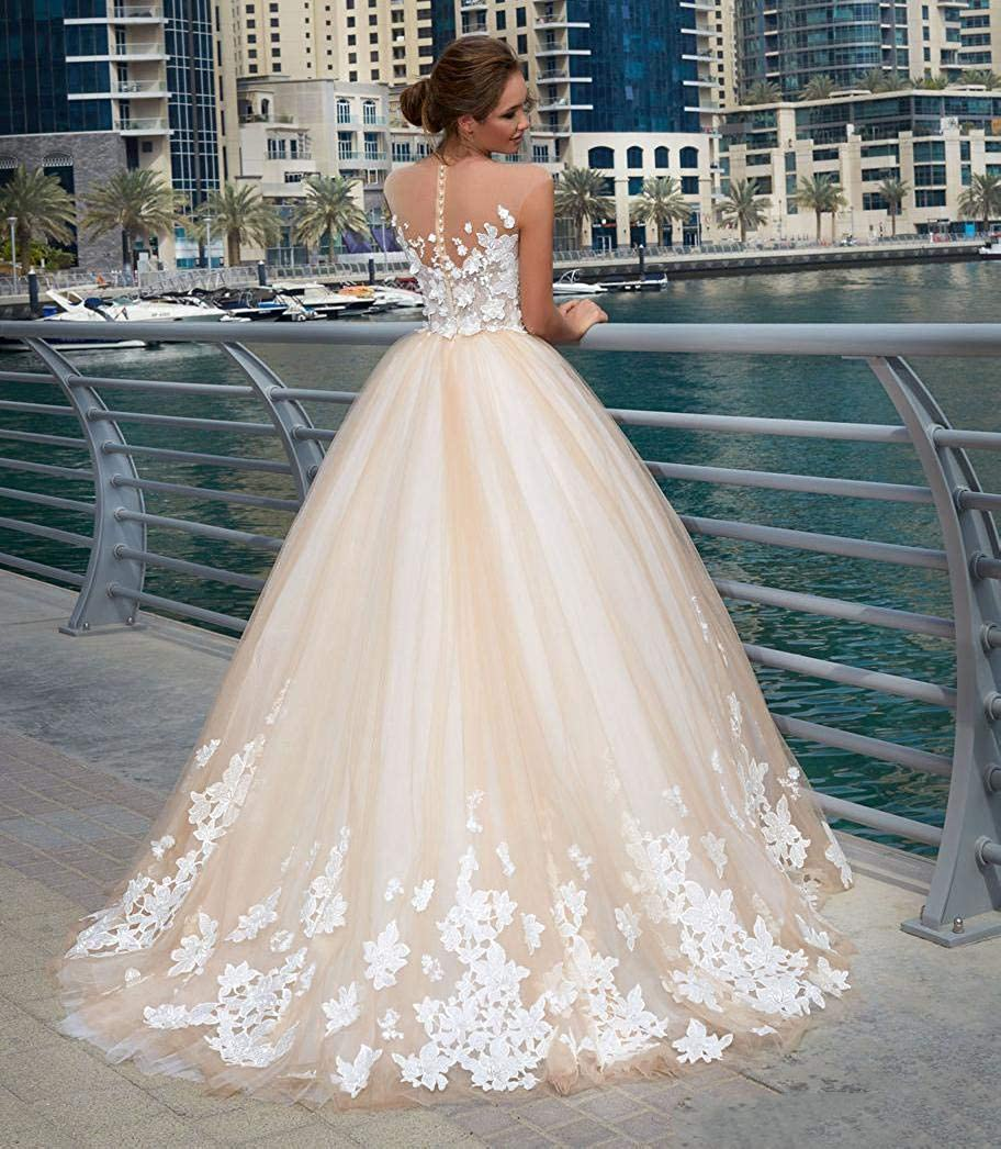 FJMM Womens Sheer Neck A-line Wedding Dresses Illusion Cap Sleeves Sweep Train Lace Bridal Gowns
