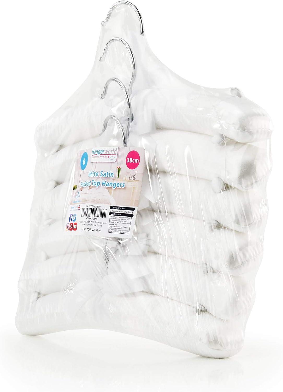Hangerworld 6 Perchas 30cm para Ni/ños Forradas en Sat/én Blanco Botones en los Hombros Beb/és Vestidos