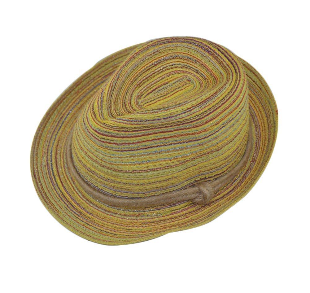 Leisial Signora Di Estate Cappello da Sole Donna Carino Linee Colorate Cappello da Spiaggia Pieghevole Tesa Larga Traspirante Cappello di Paglia K083918PUD
