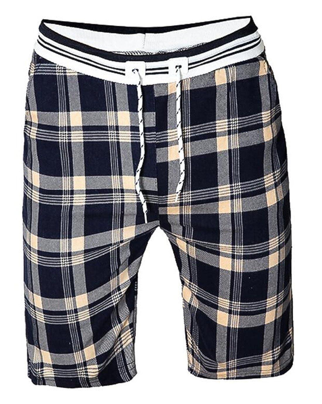KLJR-Men Summer Plaid Light Weight Cotton Pajama Lounge Sleep Shorts