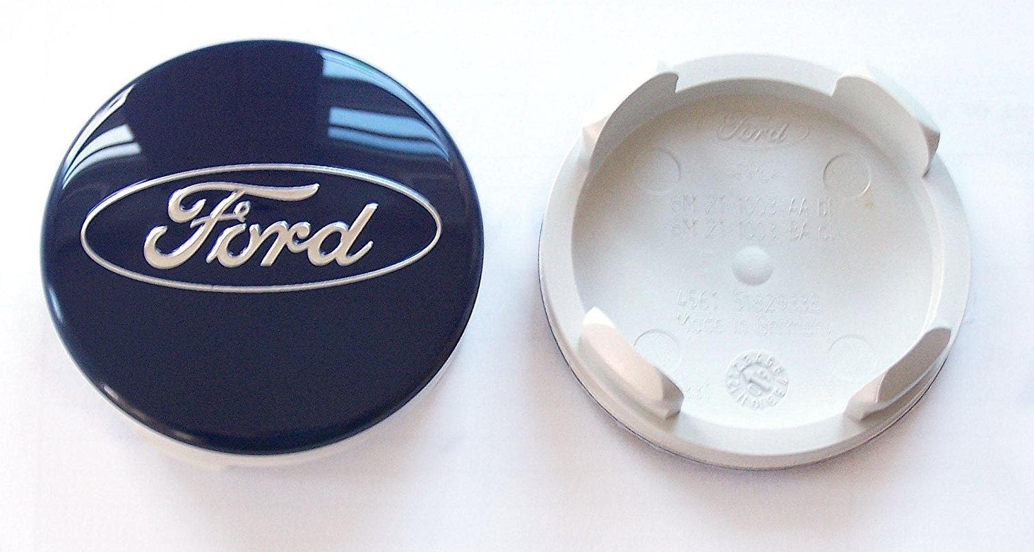 FORD FOCUS RS MK2-2008 ONWARDS BLUE ALLOY WHEEL CENTRE CAPS SET OF x4