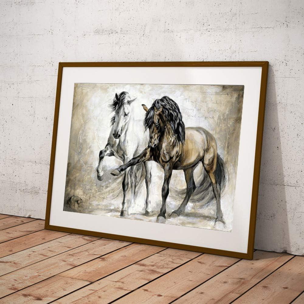 QWESFX Arte de la Pared Carteles Animales Pintura al óleo sobre Lienzo Cuadros de la Pared Retro Nostalgia Dos Caballos Marrones Bailando para la Sala D 60x90cm
