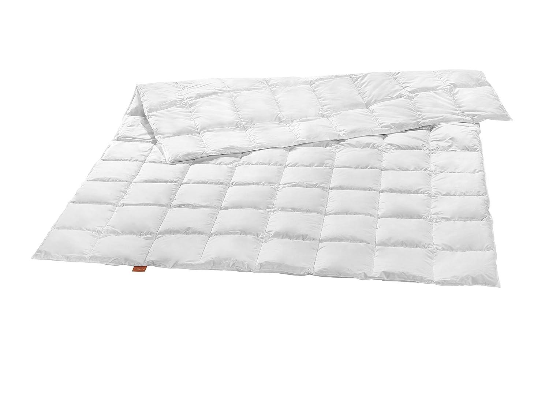 Sleepling Premium Luxus Daunendecke Made in Germany aus 100% silberweißen Gänsedaunen extra leicht (220 gr. Füllgewicht), 135 x 200 cm, weiß