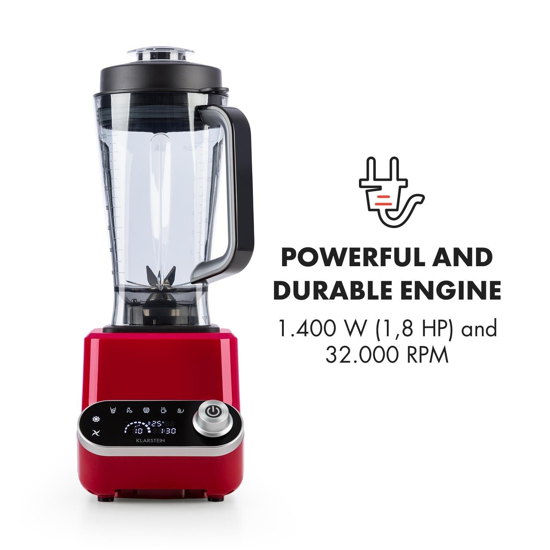 Klarstein Olympus R Batidora de vaso • Licuadora • Mezcladora • Batidora potente • 1400 W • Sin BPA • 32.000 RPM • 2 litros • 4 programas • 6 Cuchillas de ...