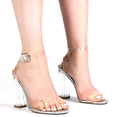 1d9b948ef6c PUBLIC DESIRE Womans Shoes Strappy Perspex HIGH Heels in Clear Glitter Alia  41 Silver