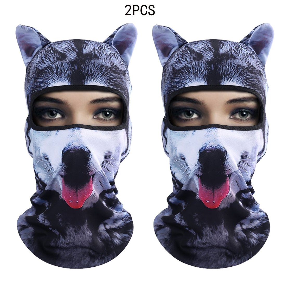 Outgeek Cat Mask, Women Men Balaclava Summer Full Face Hat Animal Ears Sports Helmet Climbing Fishing Cap (2PCS Dogs) by Outgeek (Image #1)