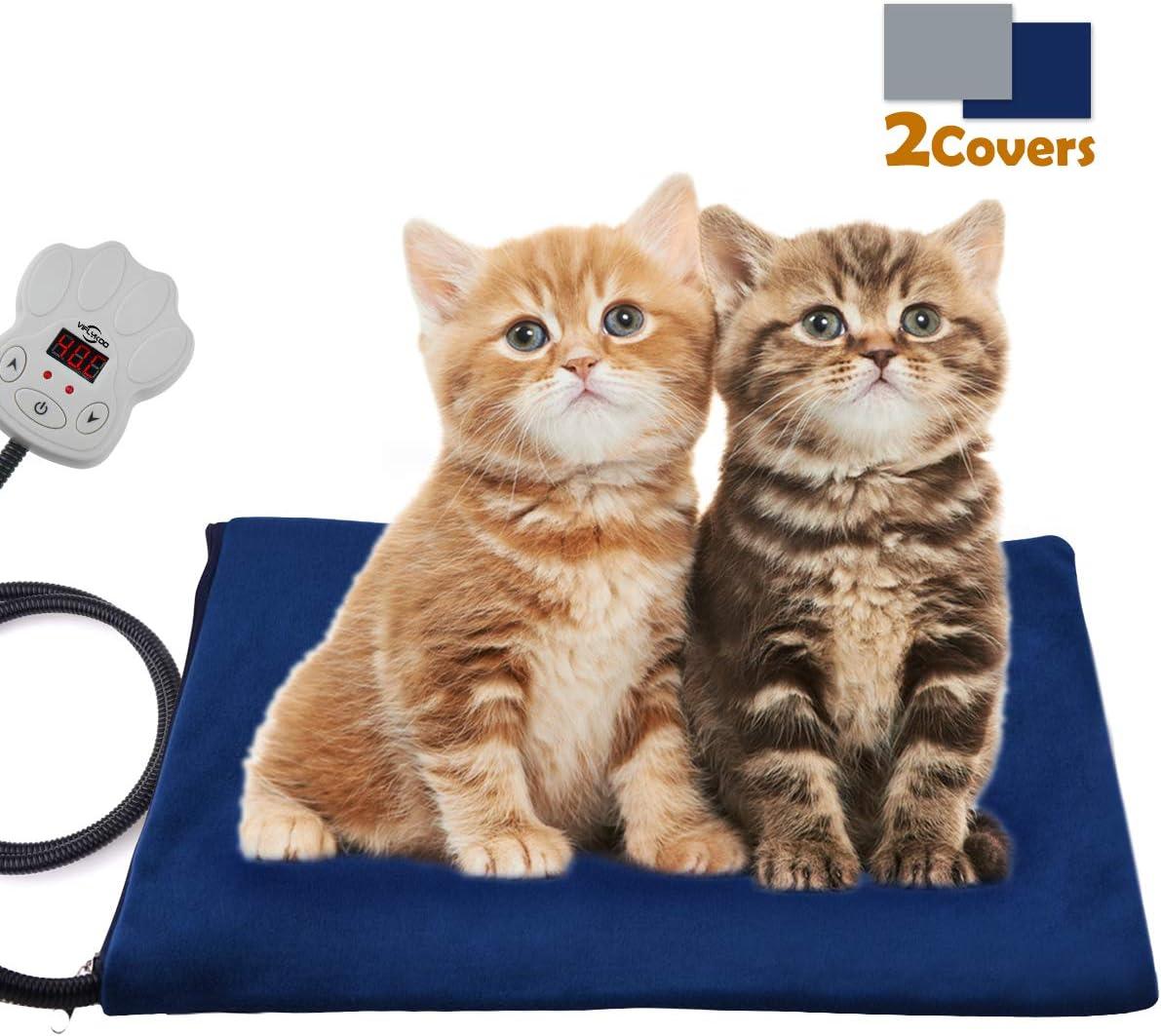Viflykoo Almohadilla térmica Mascotas, Manta Eléctrica para Perro con Ajuste Temperatura 7 velocidades Almohadilla Aislante 30W para Gatos Pad térmica Suave Mascotas(40 * 30 cm)