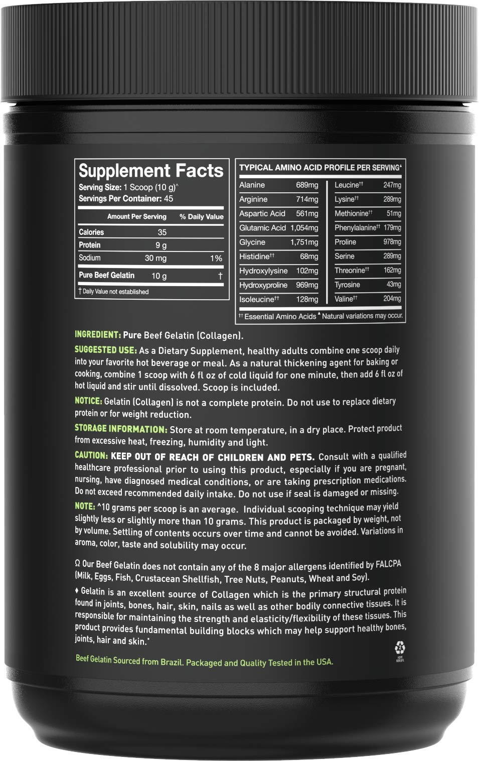 Gelatin Collagen Cooking Powder ~ Sourced from Pasture Raised,Grass-Fed Cows ~ Great for Cooking and Baking~ Certified Keto Friendly and Non-GMO (16oz) by Sports Research (Image #2)