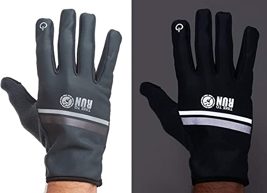Time To Run Windproof Pro Spirit Mens /& Womens Reflective Warm Thermal Windproof Winter Running//Cycling Touchscreen Grip Gloves