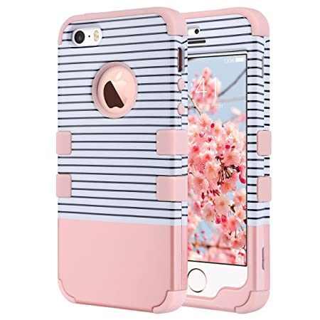 ULAK iPhone 5s SE Hülle, iPhone 5S Case 3 Layer Hybrid Combo Innere Weiche Silikon Hart Plastik Anti-stoß Schutzhülle Tasche