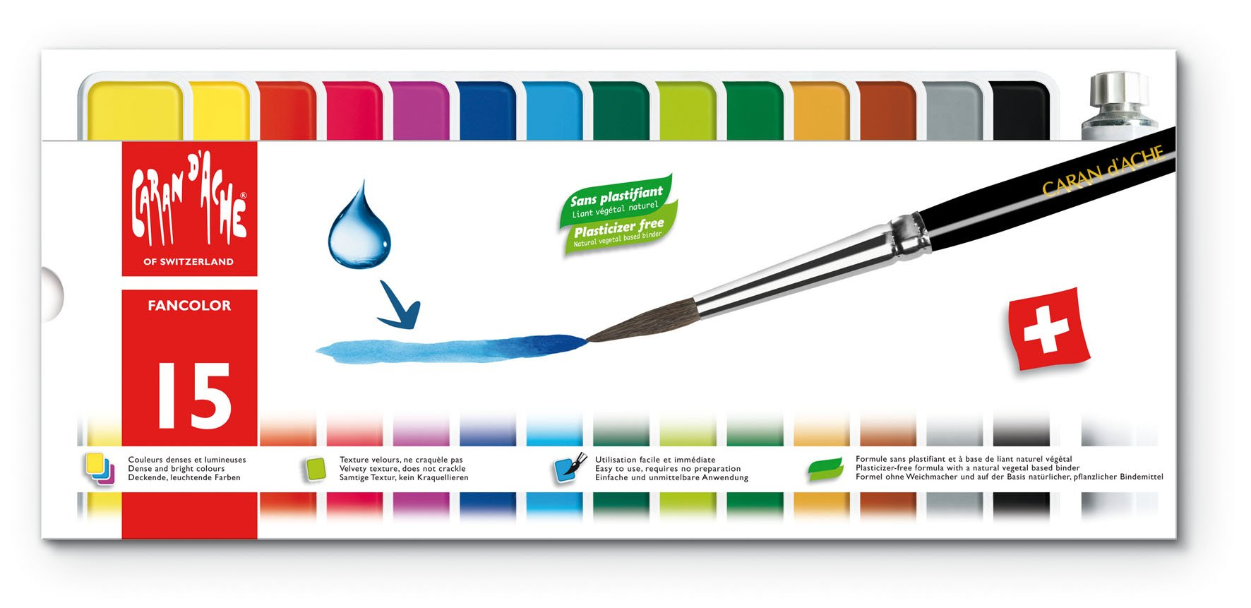 Caran d'Ache Fancolor Tempera, 15 Colors by Caran d'Ache (Image #1)