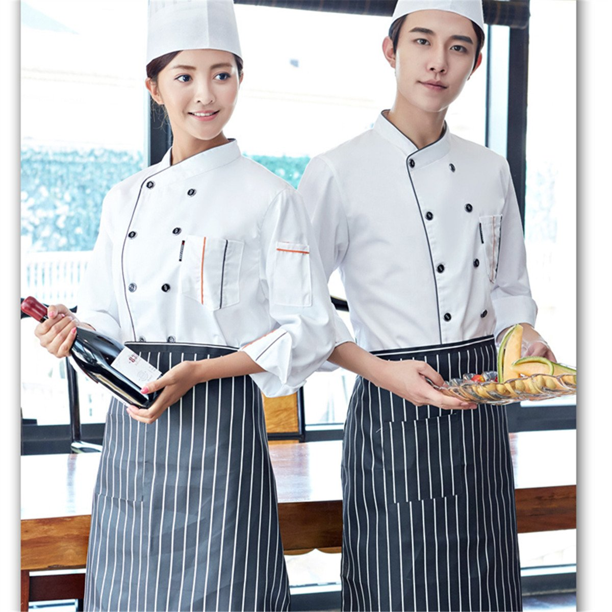 Unisex-Adult Chefs Uniform Long//Short Sleeves Double-Breasted Chef Coats for Mens Womens