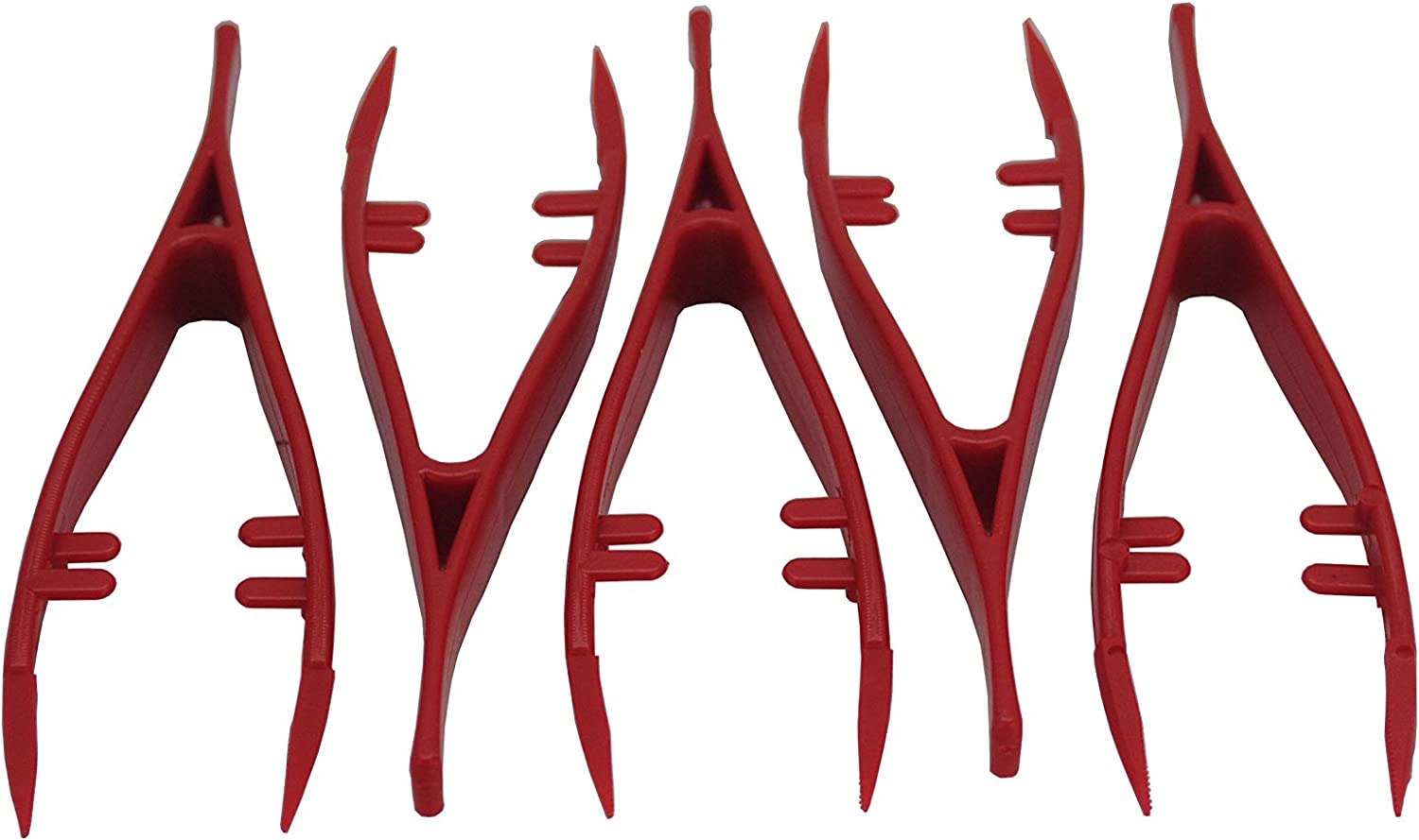 Free UK Postage. Proops Set of 5 Multi-Purpose 130mm Red Fine Point Pointed Plastic Tweezers with Serrated Tips. S7789