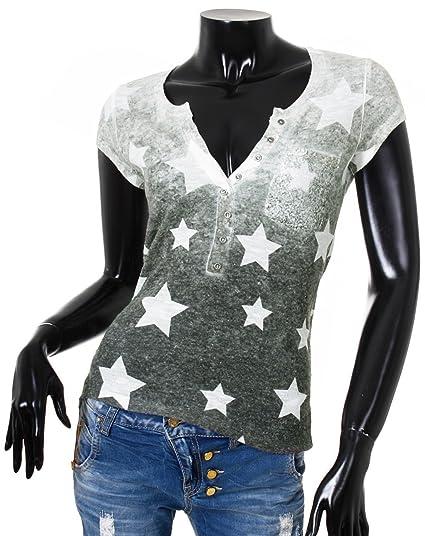 Key Largo Damen T-Shirt Shooting mit Knopfleiste Vintage Look Allover Stars Sterne  Print Druck Oberteil mit Brusttasche, Grösse S Farbe dunkelgrau-grün  ... dfd21ee28c