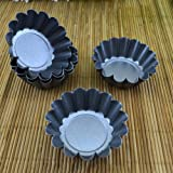 BESTONZON 12pcs Mini Tart Pans Mini Pie Tin Tartlet Pan,Mini Cupcake Cookie Pudding Mold Muffin Baking Cups - Cooking Molds For Pies, Cheese Cakes, Desserts, Quiche pan and More