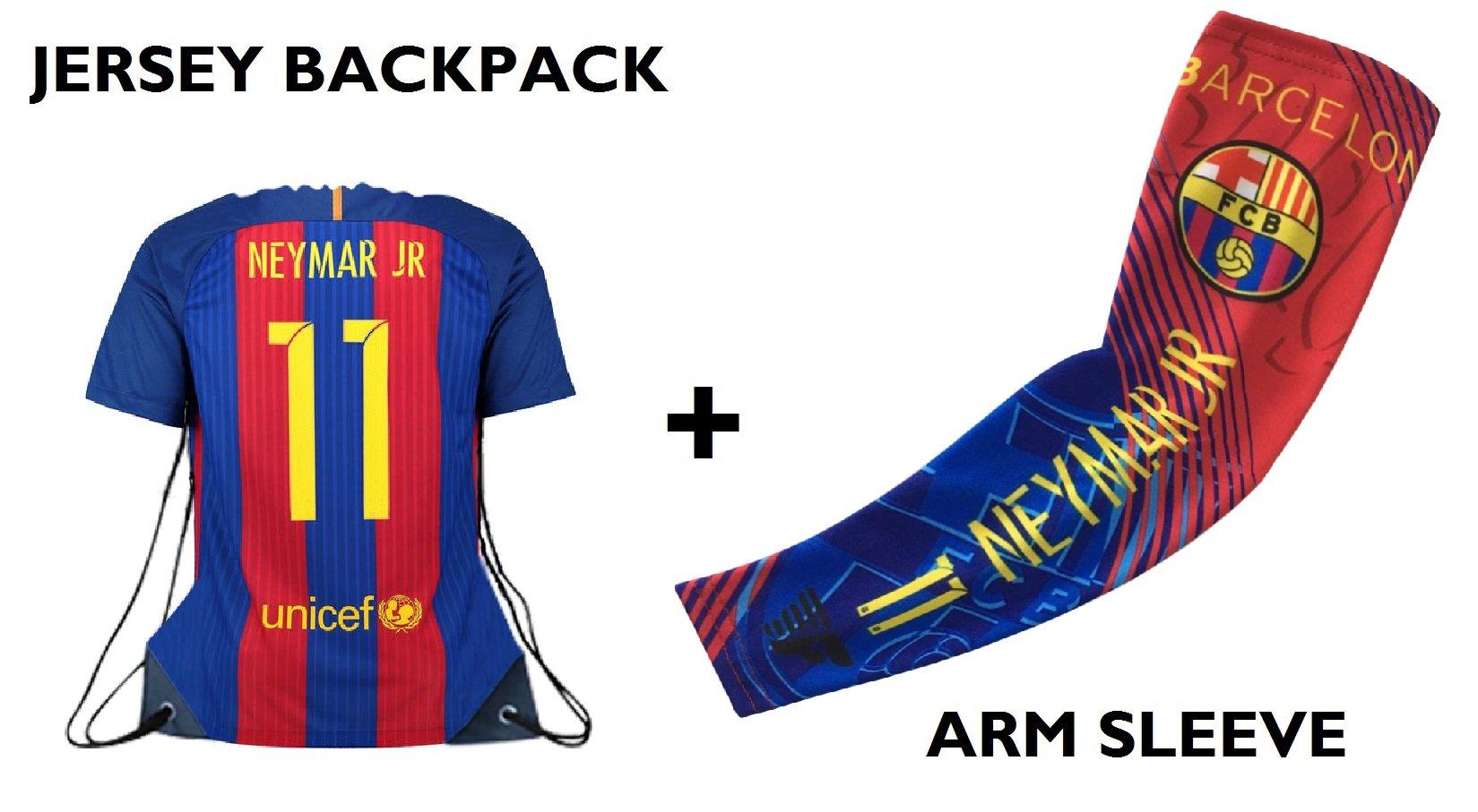 Forever Fanatics Barcelona Neymar #11 Soccer Fan ift Set ✓ Nemar Jr #11 Jersey Drawstring Backpack Gym Bag & Matchin Compression Arm Sleeve (Youth Size (6-13 yrs), Neymar Jr #11 Gift Set)