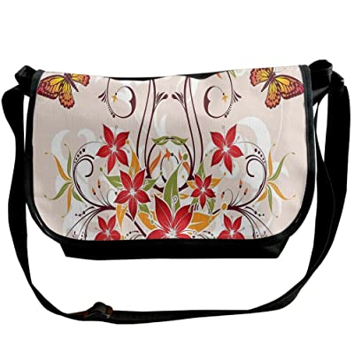 Lovebbag Butterflies And Flourishing Swirled Blossoms Bouquet Botany Artsy Image Crossbody Messenger Bag delicate
