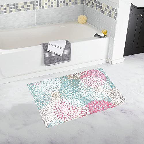 INTERESTPRINT Multicolor Dahlia Pinnata Flowers House Decor Non Slip Bath Rug Mat Absorbent Bathroom Floor Mat Doormat Large Size 20 x 32 Inches