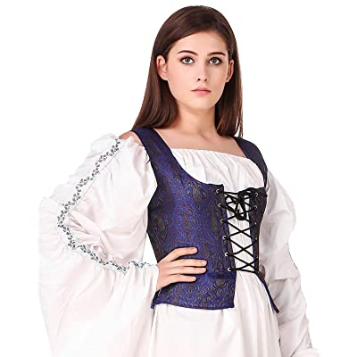 Details about  /Medieval Wench Pirate Renaissance Cosplay Costume Reversible Peasant Bodice