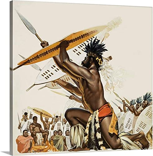 GREATBIGCANVAS African Warriors Canvas Wall Art Print